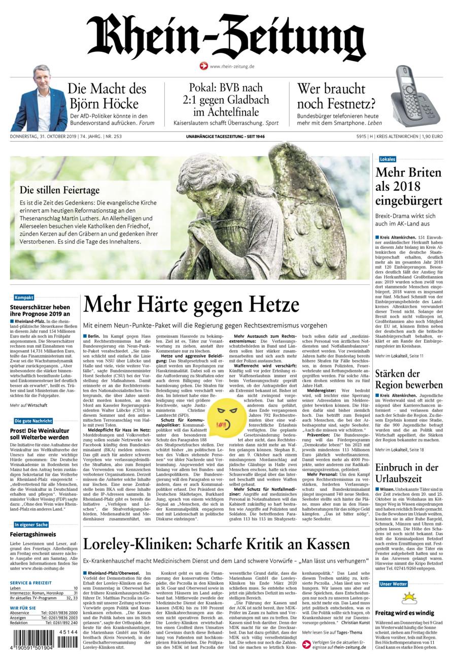 Rhein-Zeitung Kreis Altenkirchen vom Donnerstag, 31.10.2019