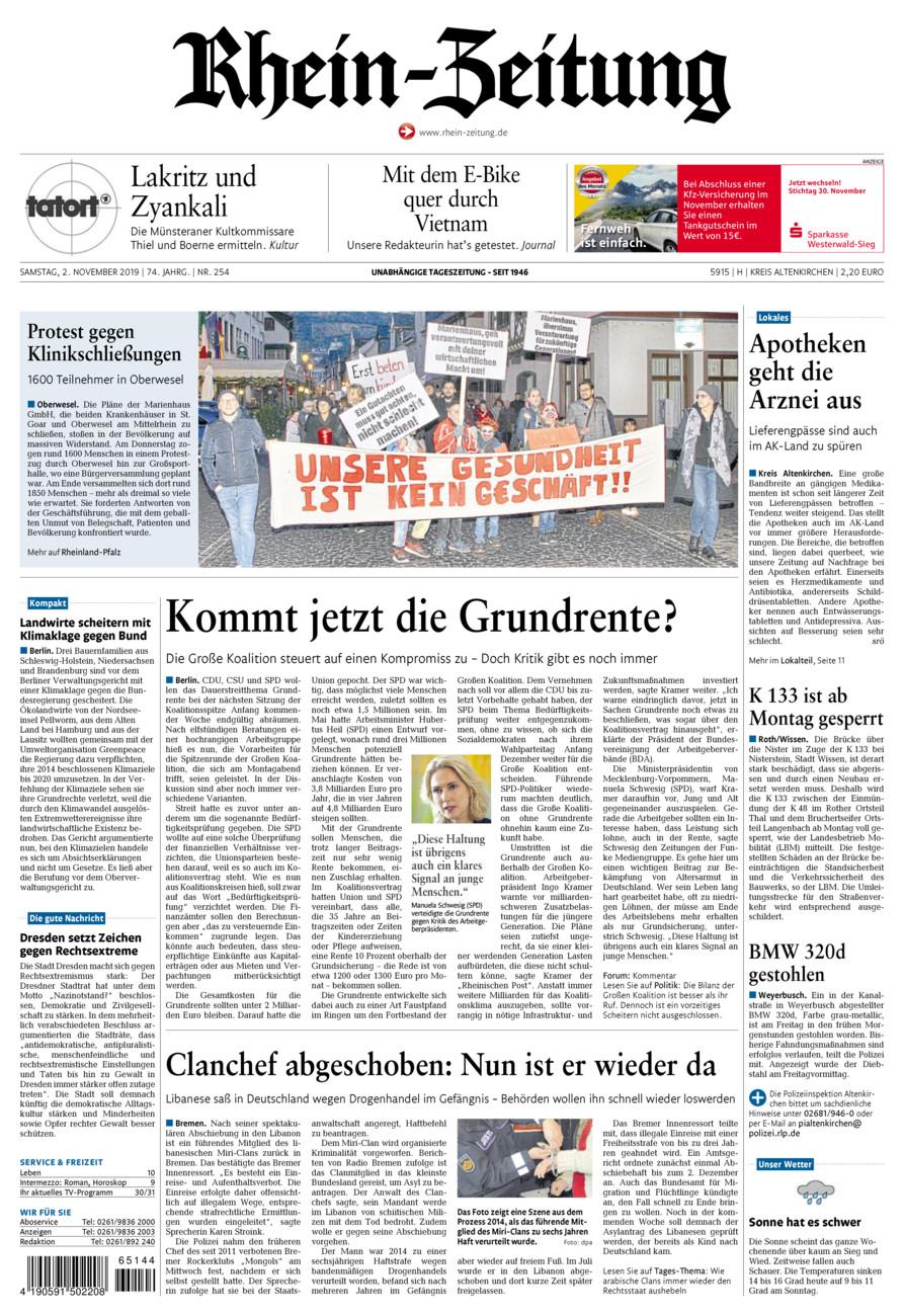 Rhein-Zeitung Kreis Altenkirchen vom Samstag, 02.11.2019