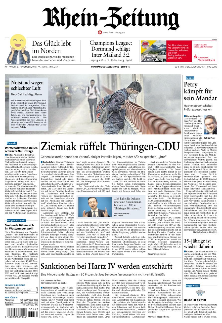 Rhein-Zeitung Kreis Altenkirchen vom Mittwoch, 06.11.2019
