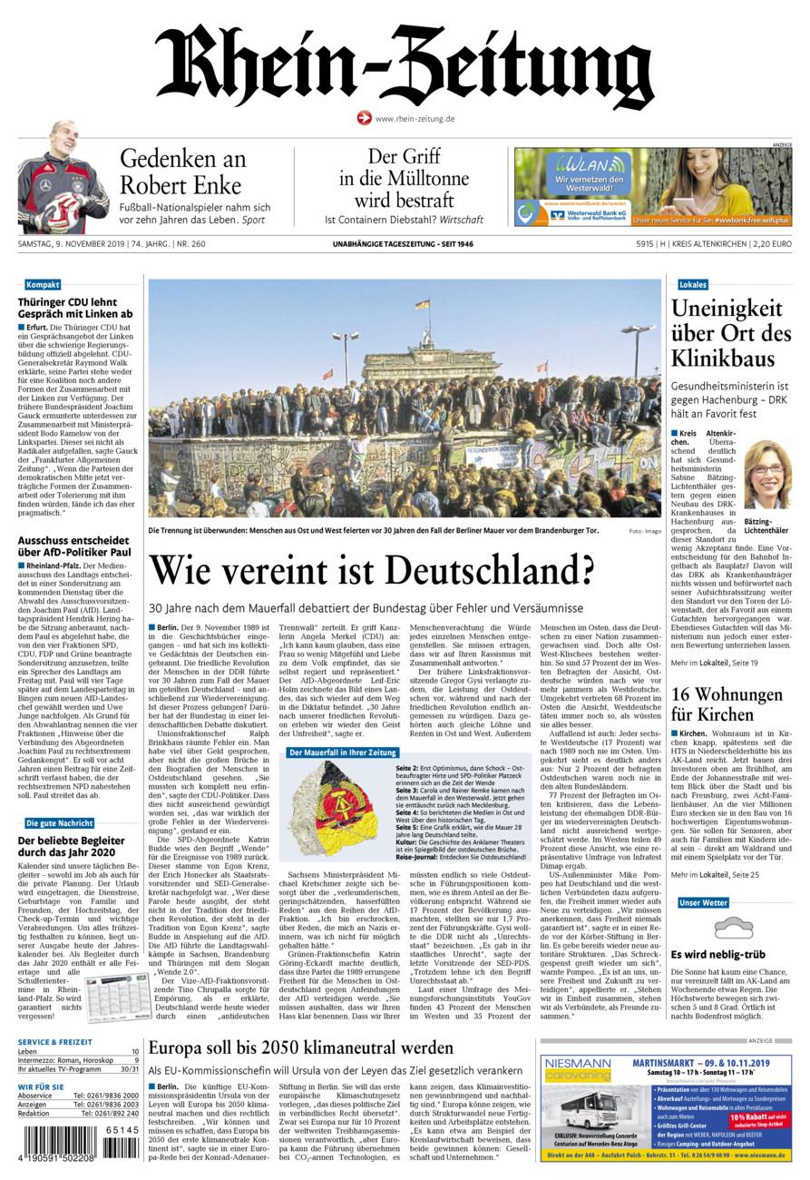 Rhein-Zeitung Kreis Altenkirchen vom Samstag, 09.11.2019
