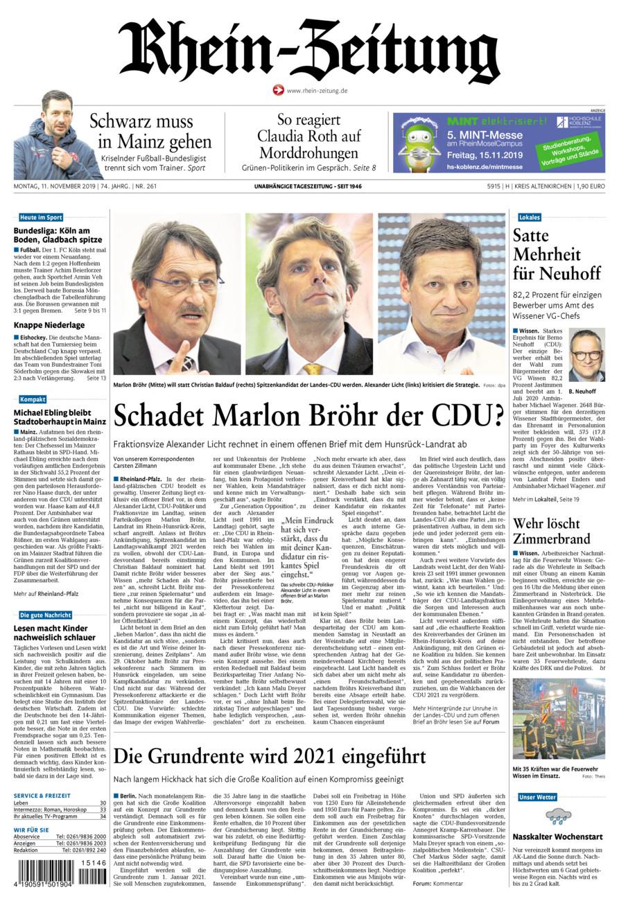 Rhein-Zeitung Kreis Altenkirchen vom Montag, 11.11.2019