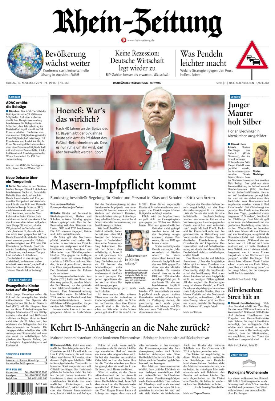 Rhein-Zeitung Kreis Altenkirchen vom Freitag, 15.11.2019