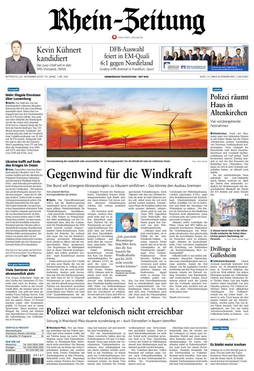 Rhein-Zeitung Kreis Altenkirchen vom Mittwoch, 20.11.2019