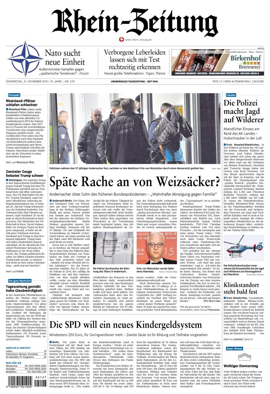 Rhein-Zeitung Kreis Altenkirchen vom Donnerstag, 21.11.2019