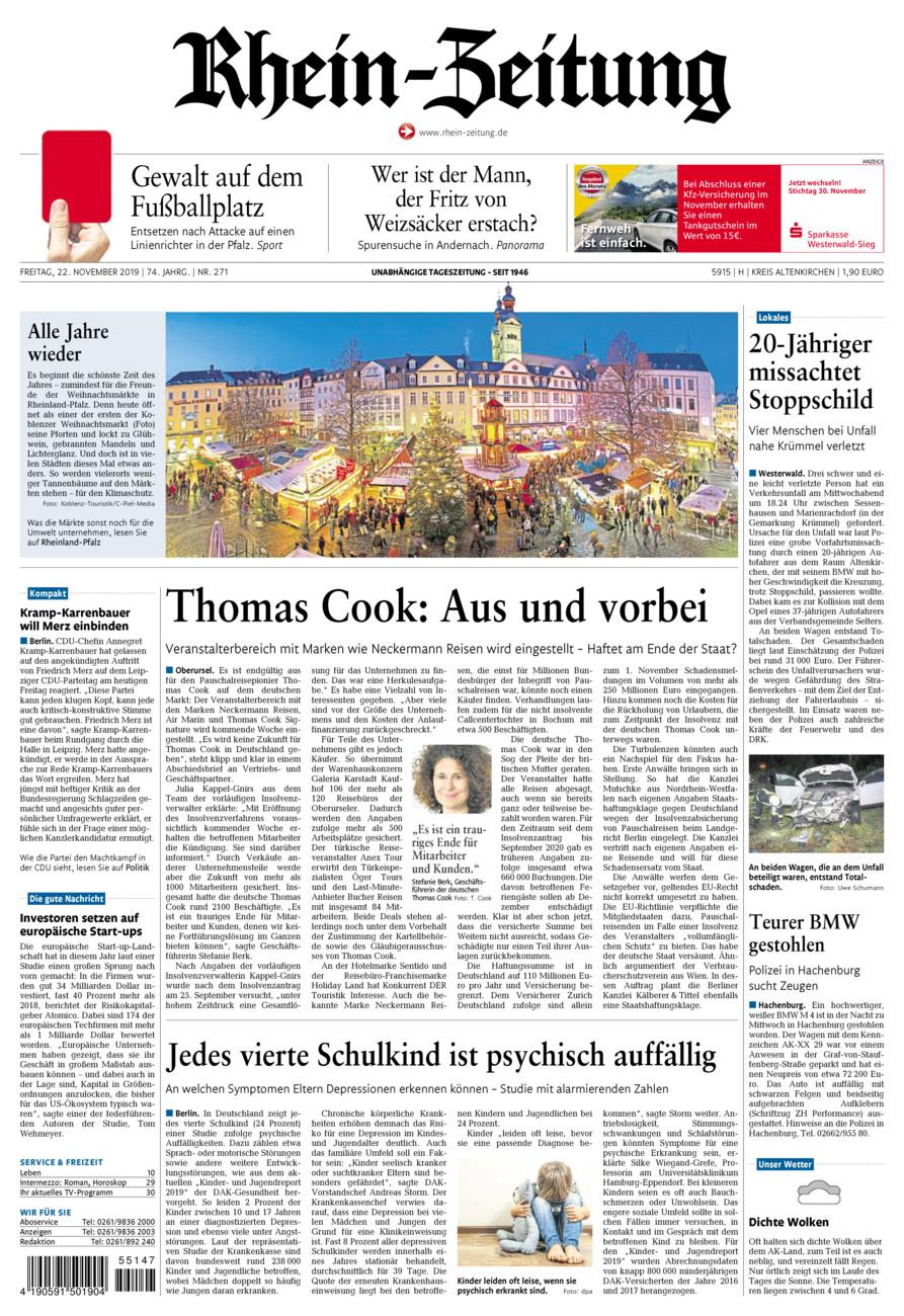 Rhein-Zeitung Kreis Altenkirchen vom Freitag, 22.11.2019