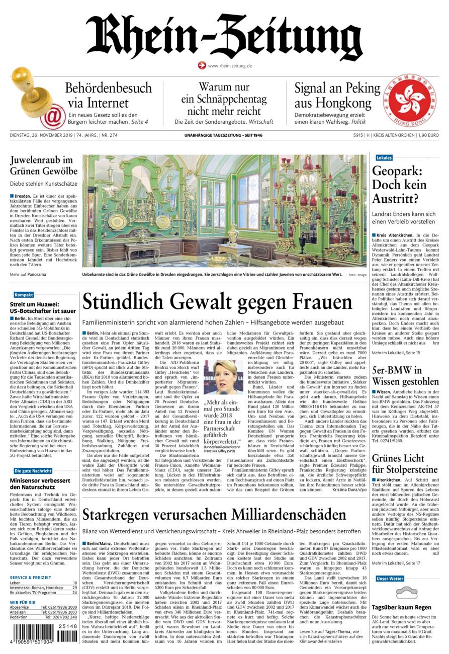 Rhein-Zeitung Kreis Altenkirchen vom Dienstag, 26.11.2019