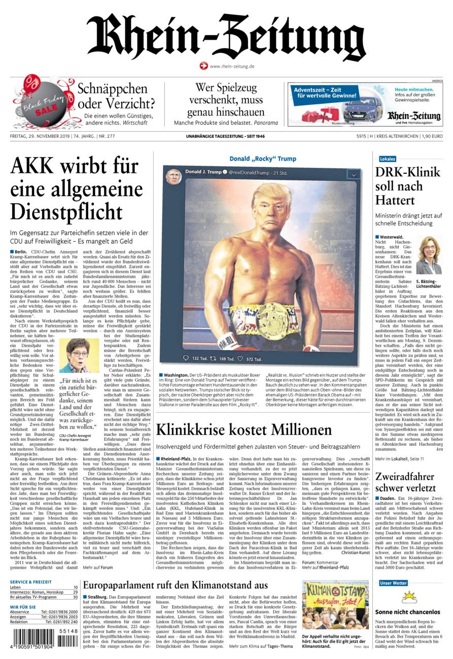 Rhein-Zeitung Kreis Altenkirchen vom Freitag, 29.11.2019