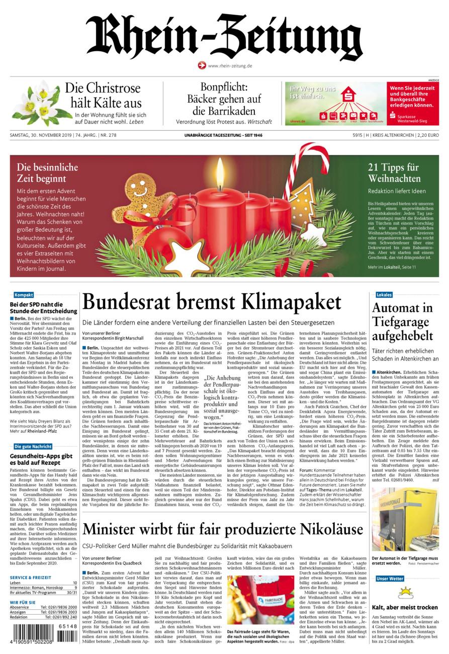 Rhein-Zeitung Kreis Altenkirchen vom Samstag, 30.11.2019