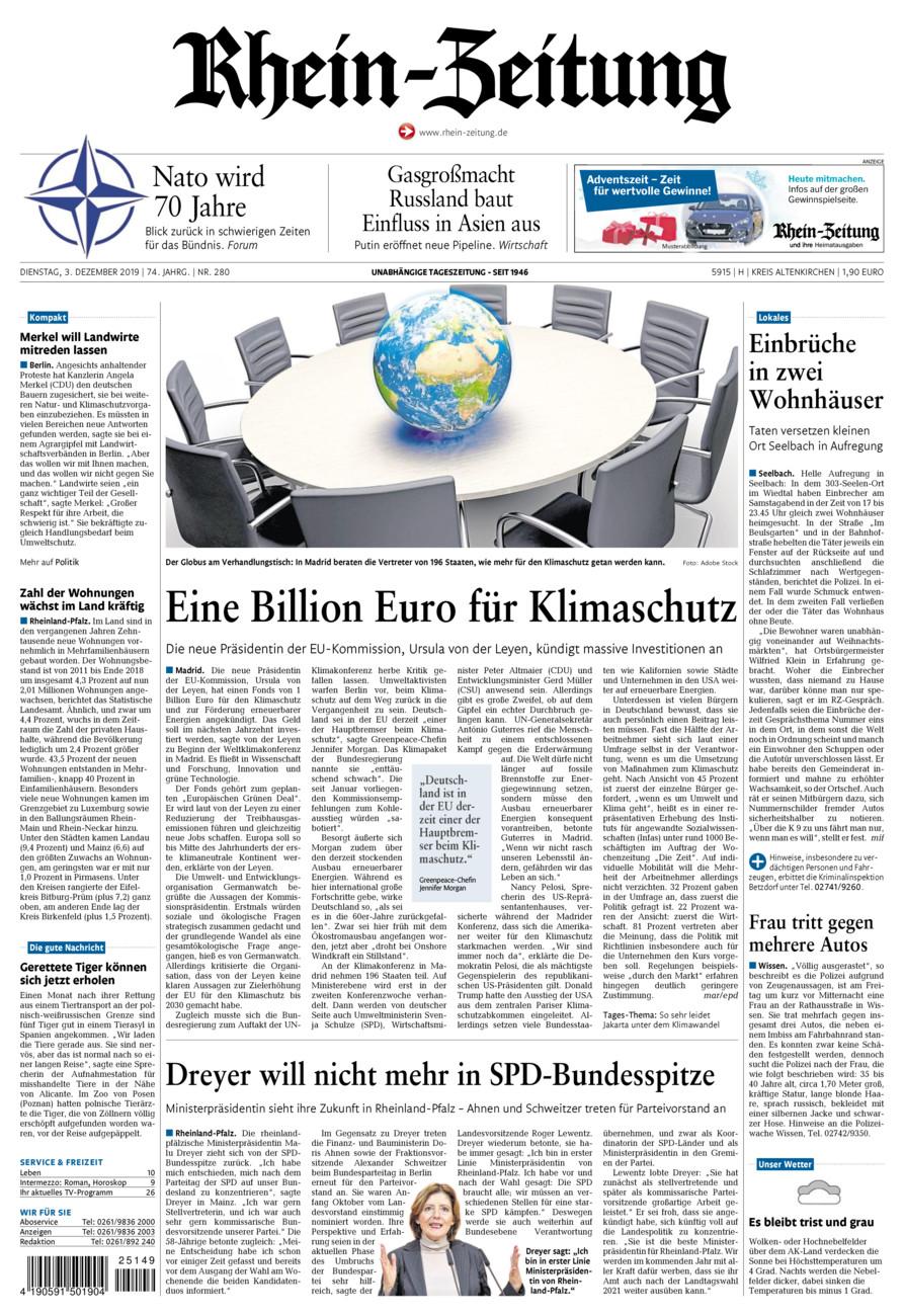 Rhein-Zeitung Kreis Altenkirchen vom Dienstag, 03.12.2019