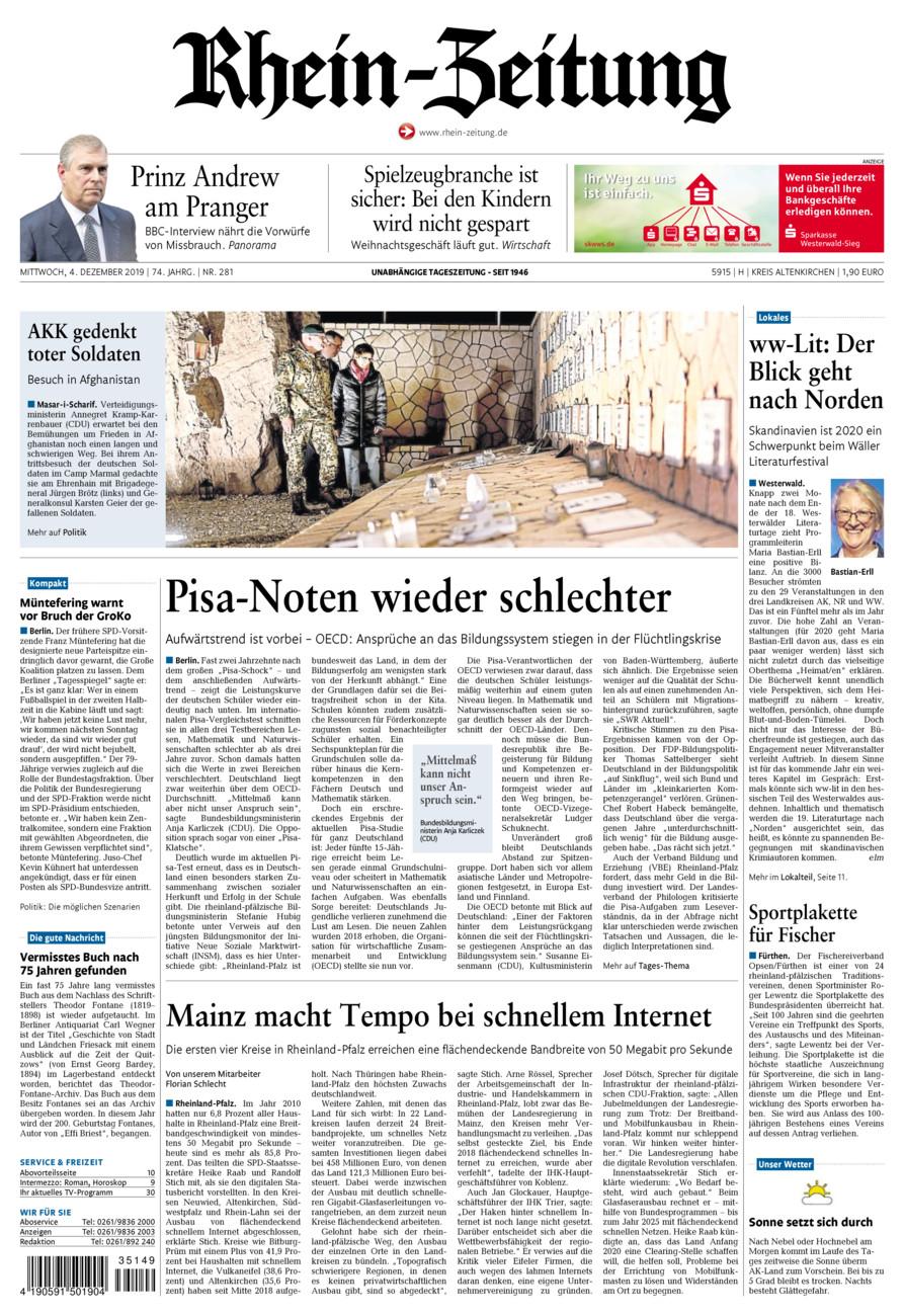 Rhein-Zeitung Kreis Altenkirchen vom Mittwoch, 04.12.2019