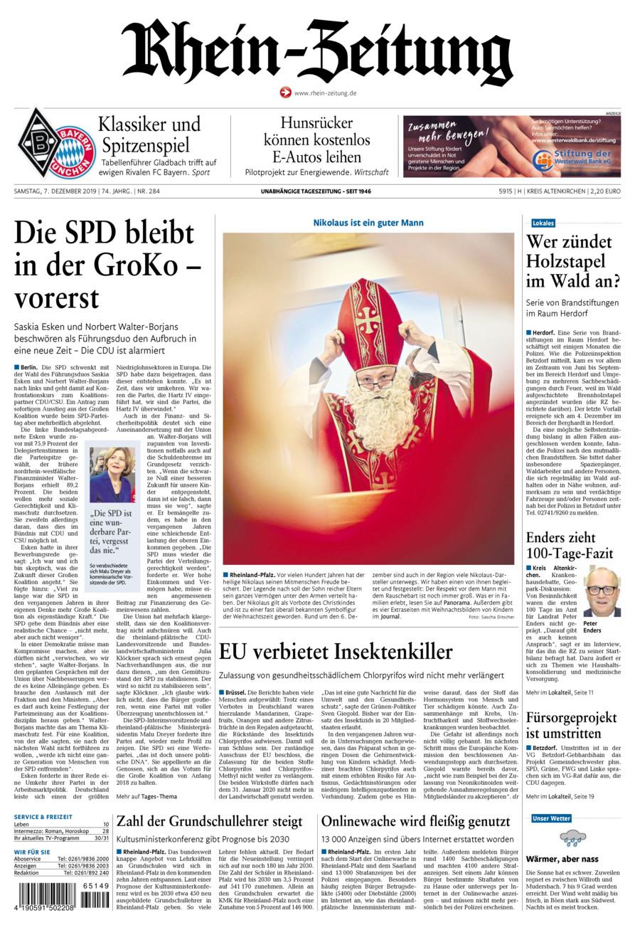 Rhein-Zeitung Kreis Altenkirchen vom Samstag, 07.12.2019