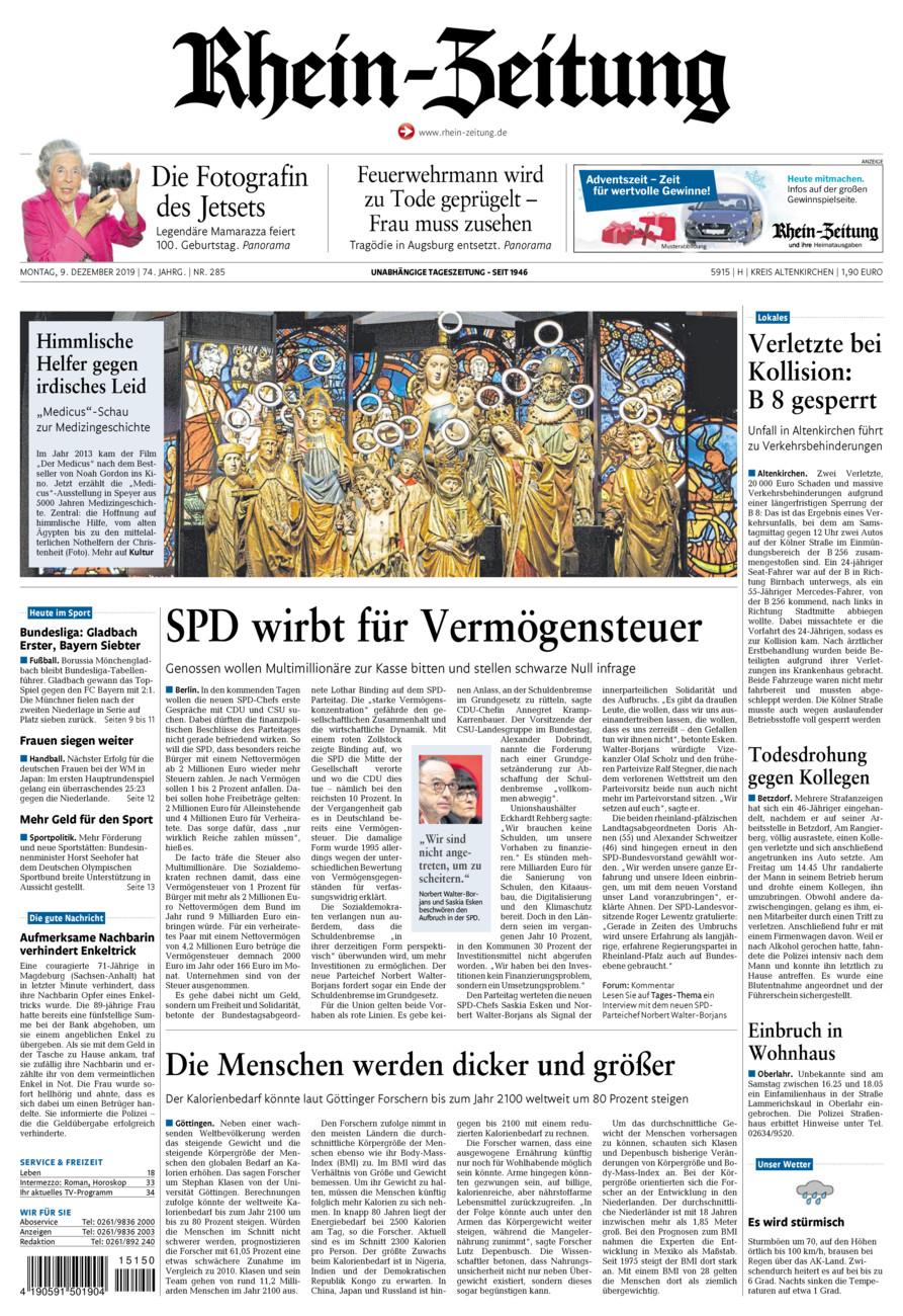 Rhein-Zeitung Kreis Altenkirchen vom Montag, 09.12.2019