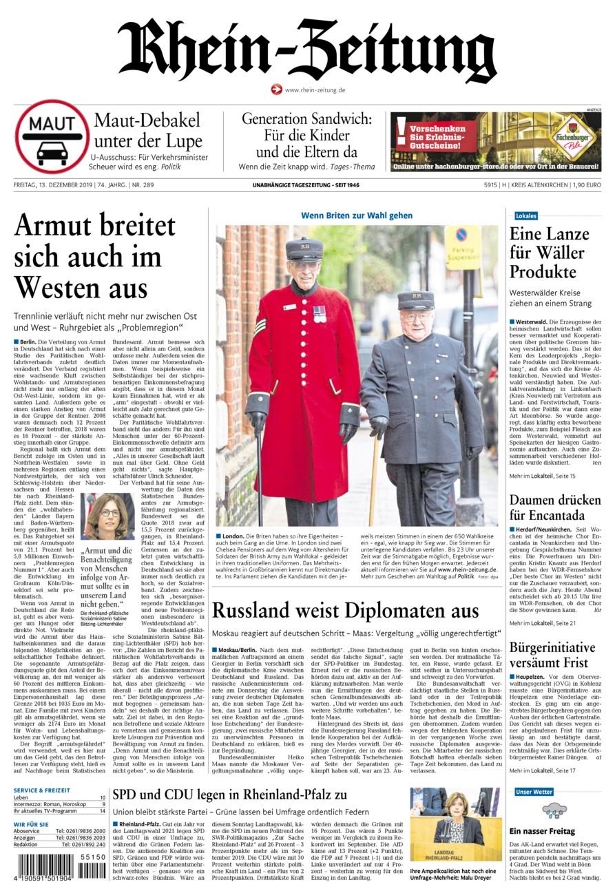 Rhein-Zeitung Kreis Altenkirchen vom Freitag, 13.12.2019