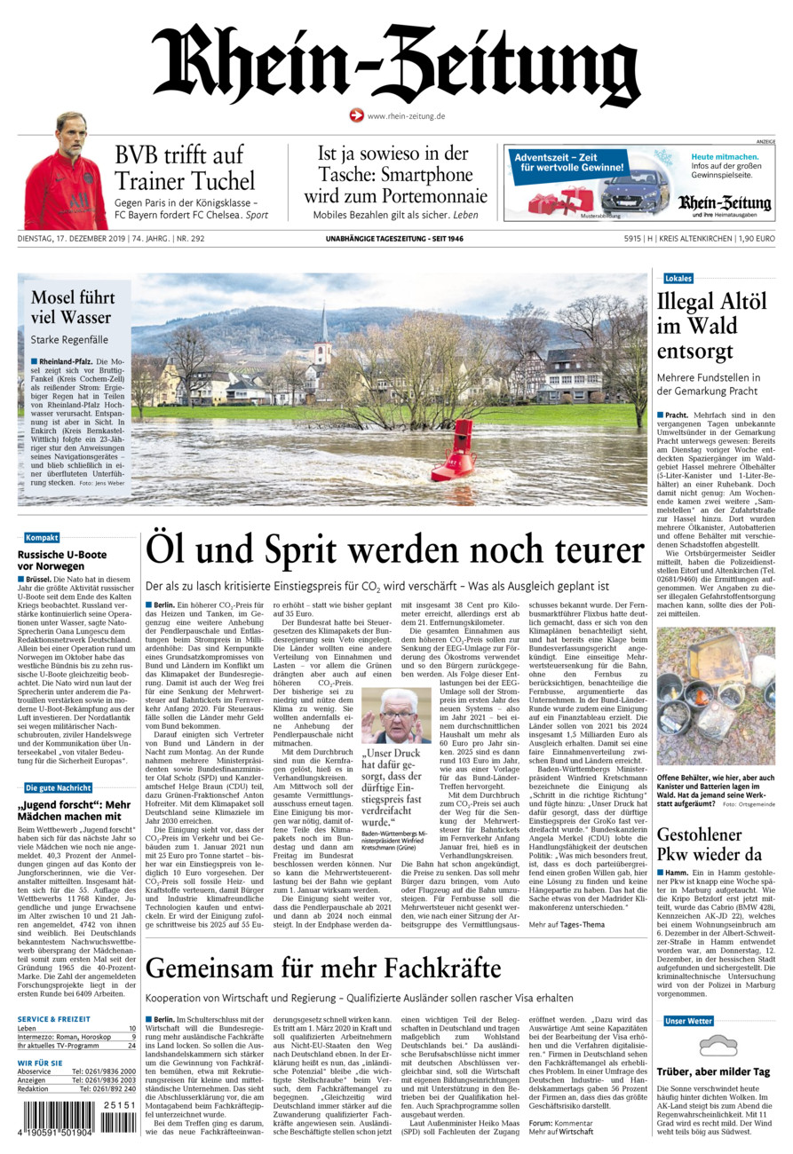 Rhein-Zeitung Kreis Altenkirchen vom Dienstag, 17.12.2019