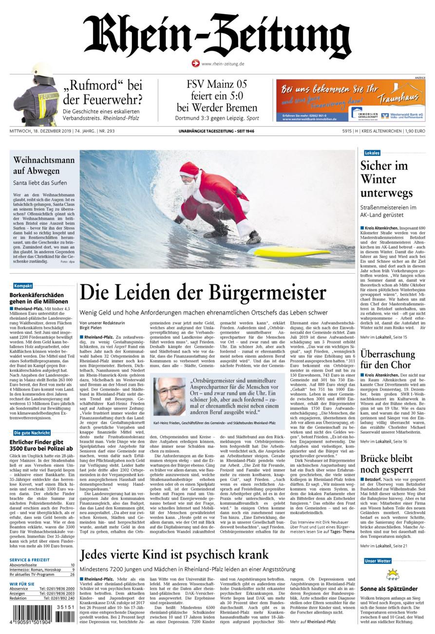 Rhein-Zeitung Kreis Altenkirchen vom Mittwoch, 18.12.2019