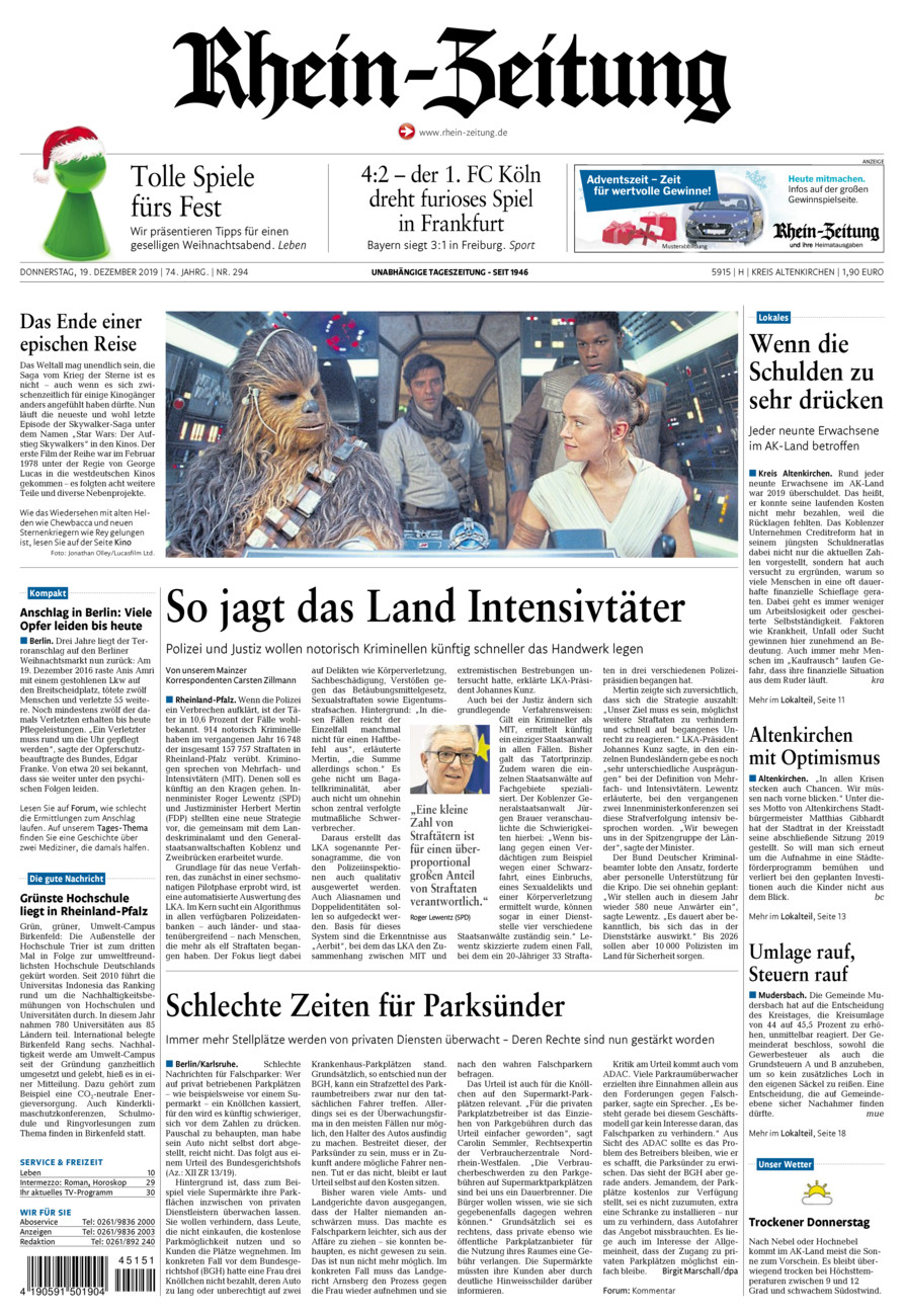 Rhein-Zeitung Kreis Altenkirchen vom Donnerstag, 19.12.2019