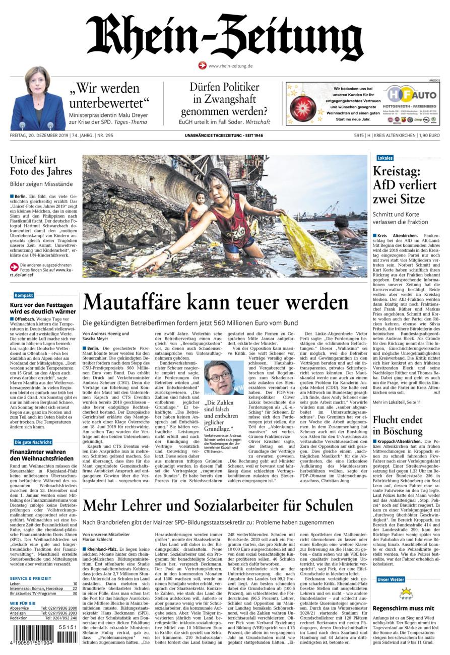 Rhein-Zeitung Kreis Altenkirchen vom Freitag, 20.12.2019