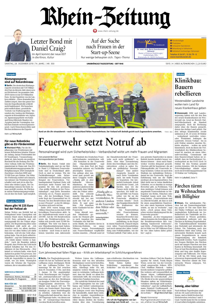 Rhein-Zeitung Kreis Altenkirchen vom Samstag, 28.12.2019