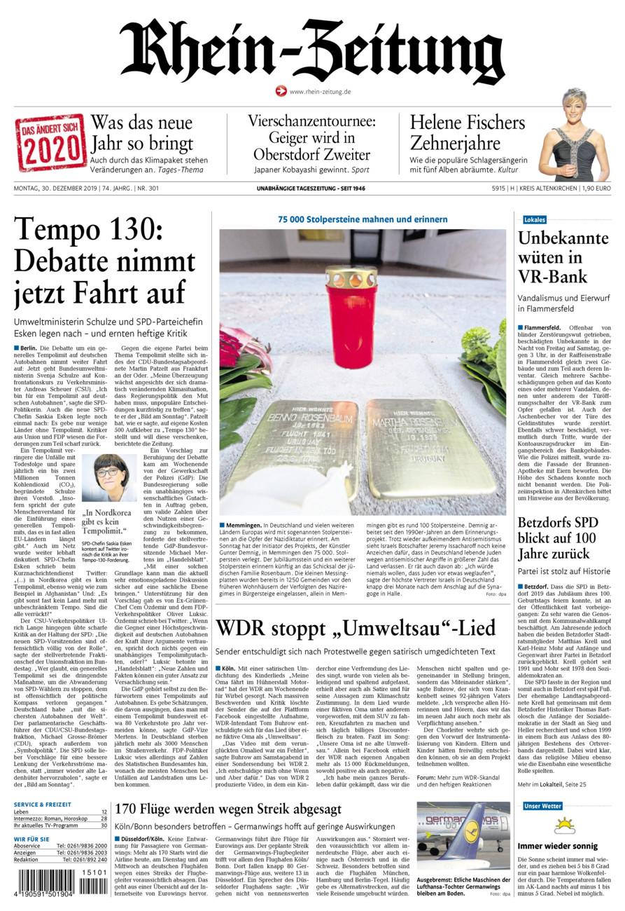 Rhein-Zeitung Kreis Altenkirchen vom Montag, 30.12.2019