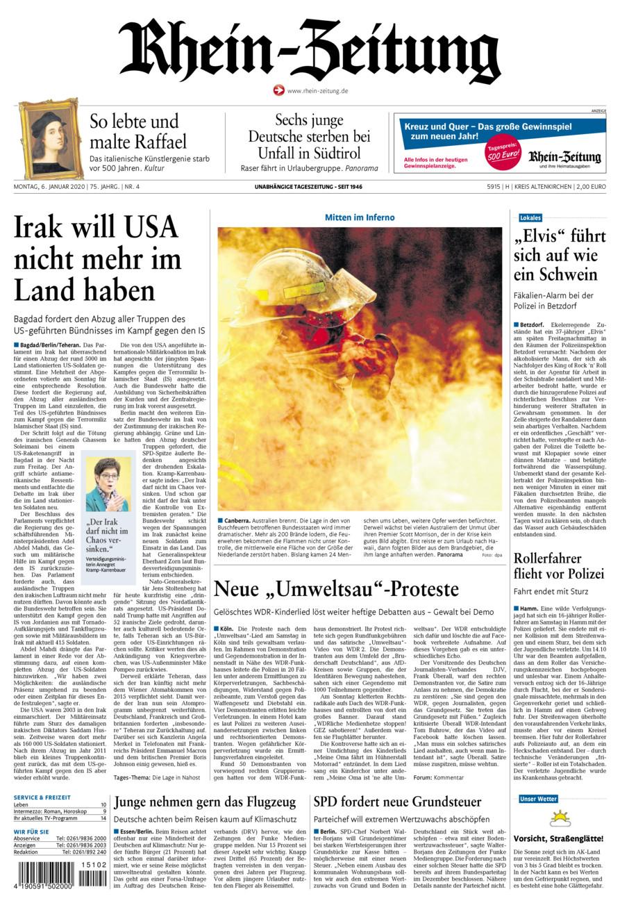 Rhein-Zeitung Kreis Altenkirchen vom Montag, 06.01.2020
