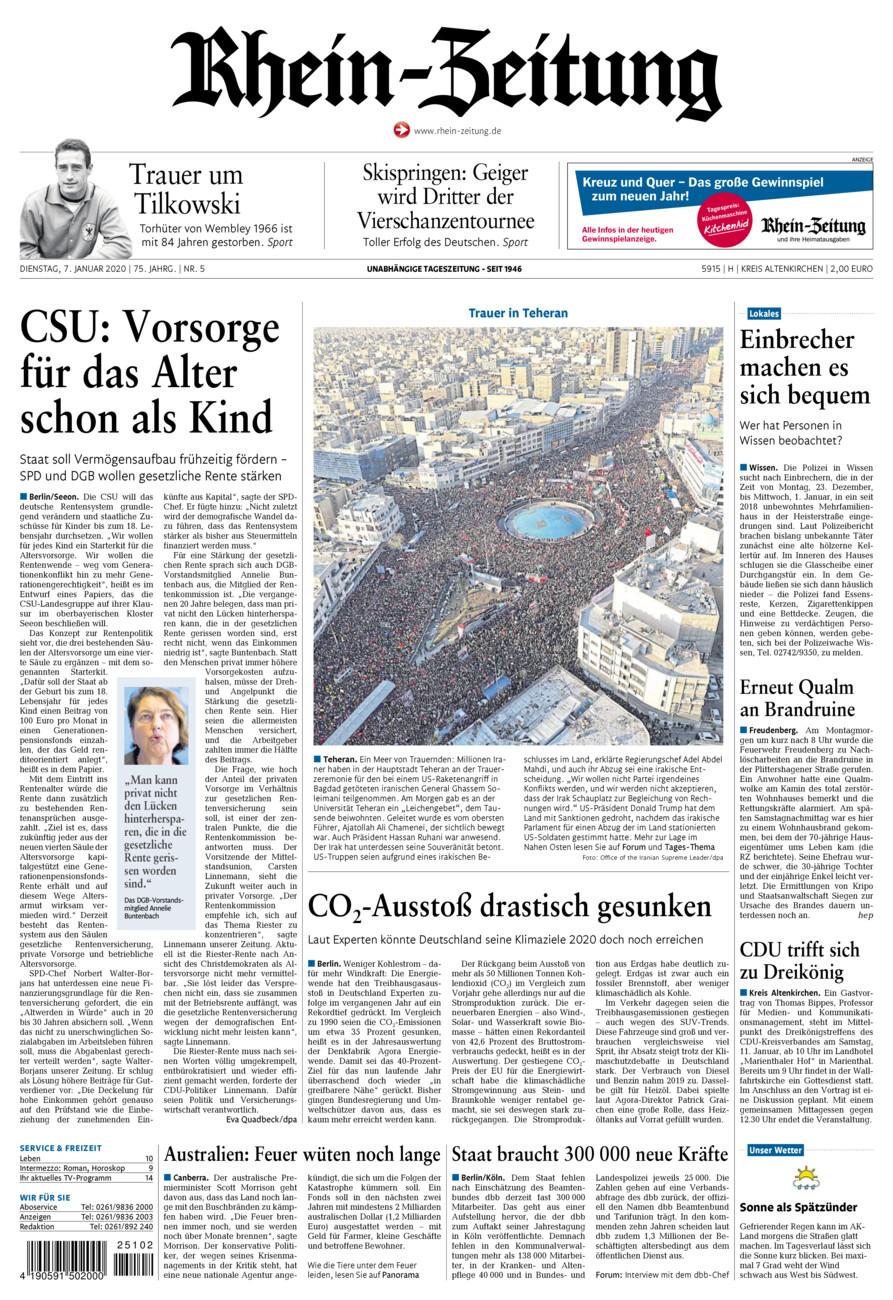 Rhein-Zeitung Kreis Altenkirchen vom Dienstag, 07.01.2020