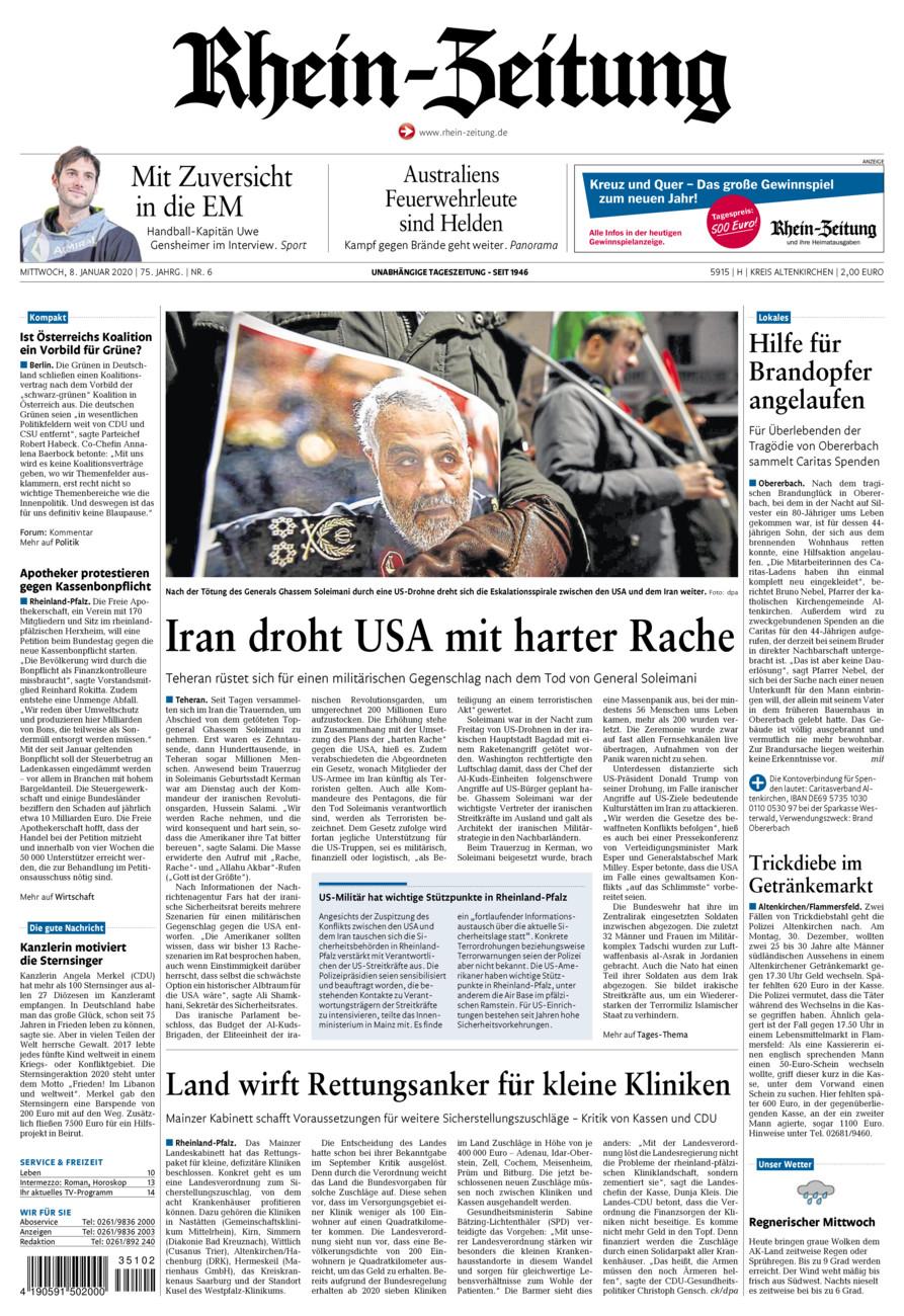 Rhein-Zeitung Kreis Altenkirchen vom Mittwoch, 08.01.2020