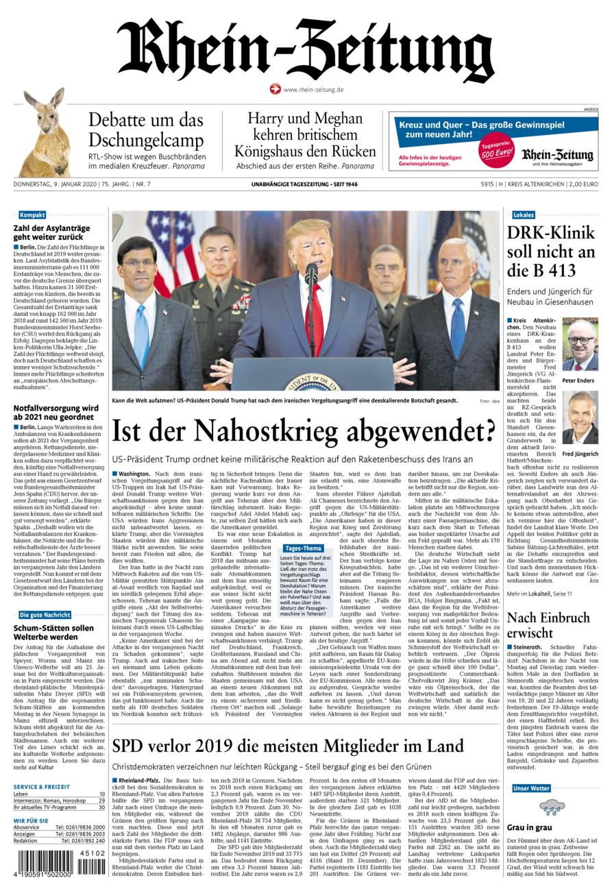 Rhein-Zeitung Kreis Altenkirchen vom Donnerstag, 09.01.2020