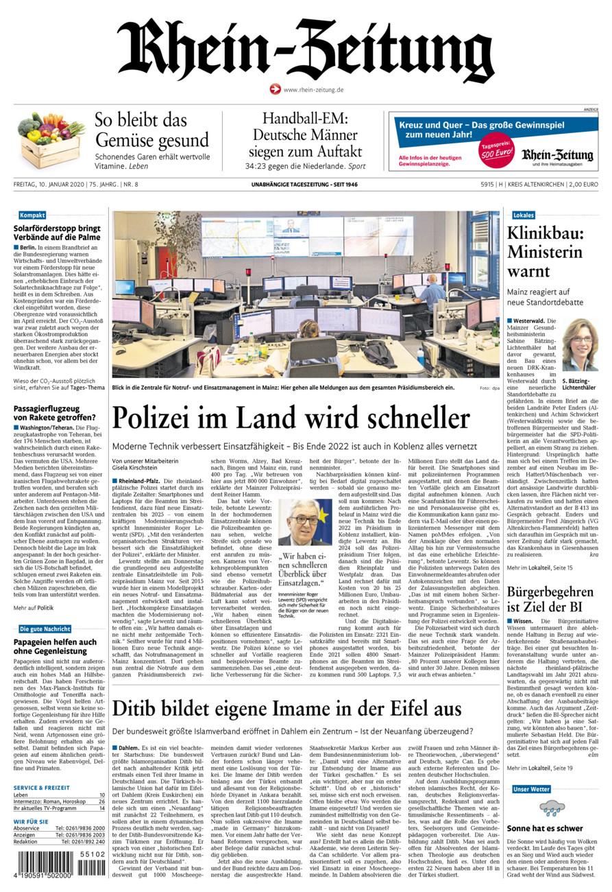 Rhein-Zeitung Kreis Altenkirchen vom Freitag, 10.01.2020