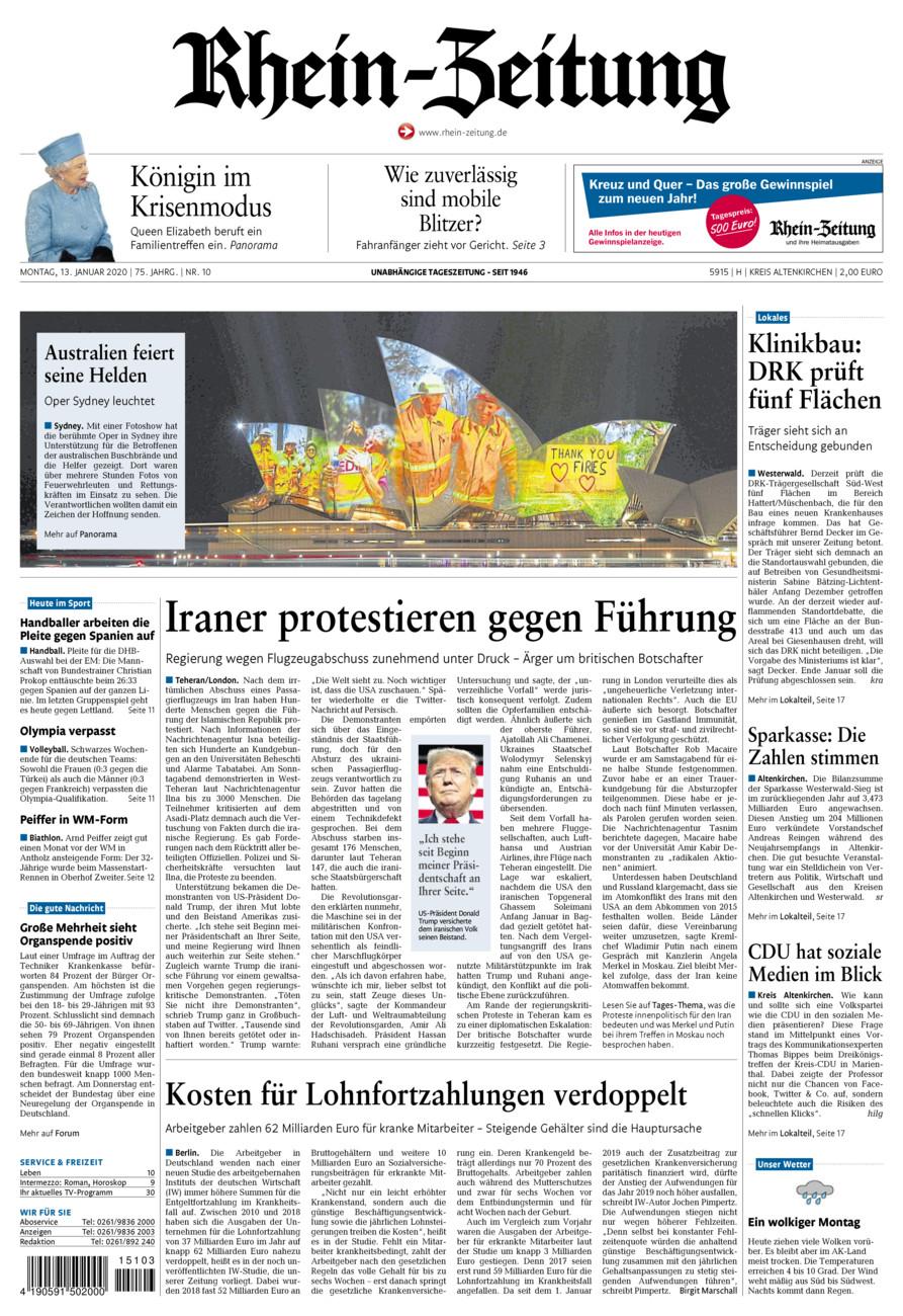 Rhein-Zeitung Kreis Altenkirchen vom Montag, 13.01.2020