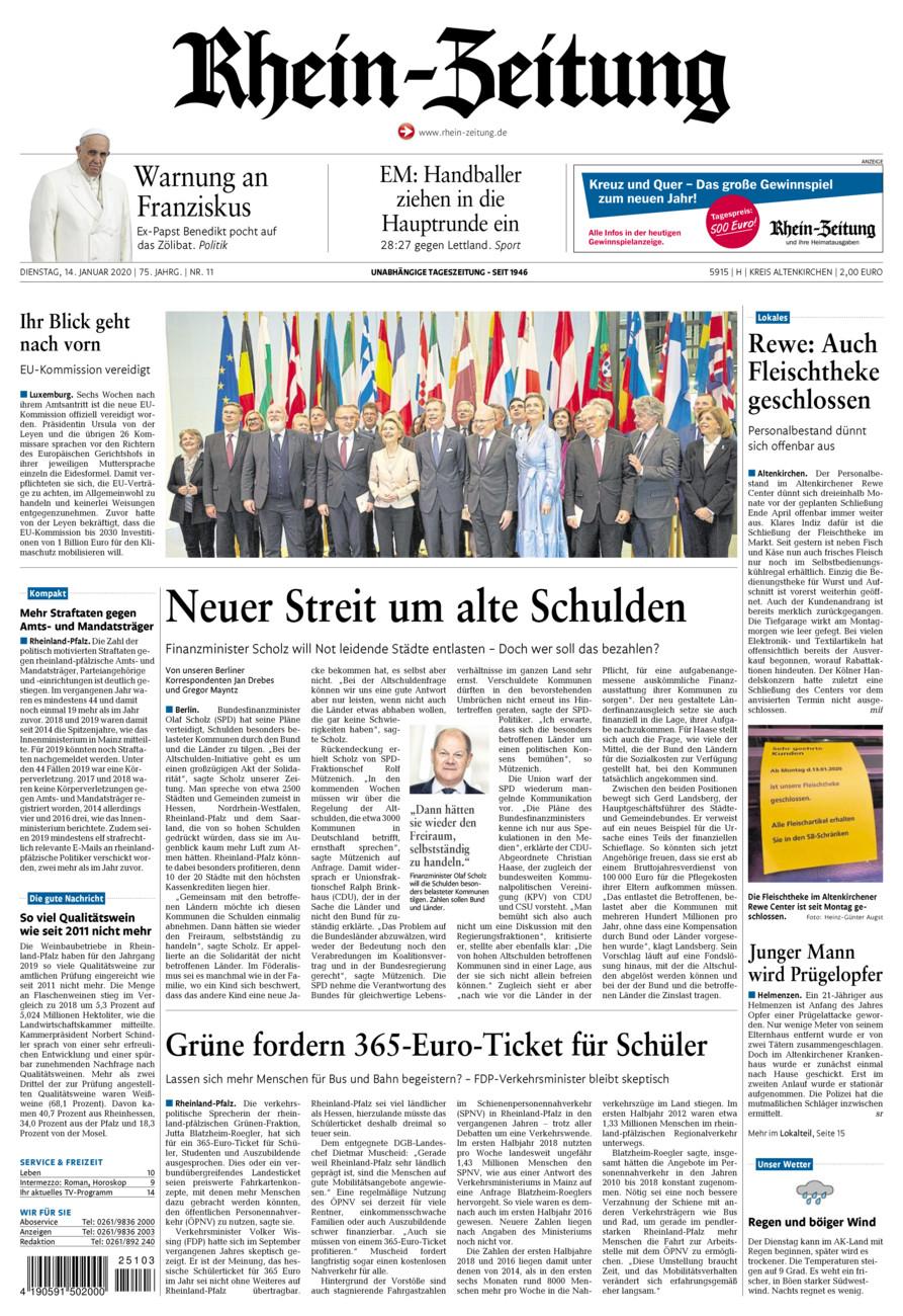 Rhein-Zeitung Kreis Altenkirchen vom Dienstag, 14.01.2020