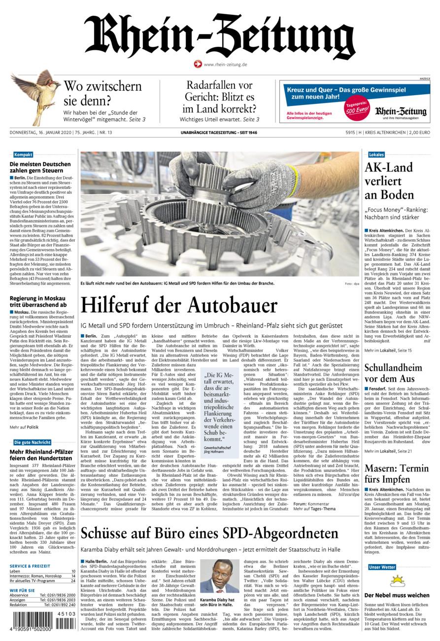 Rhein-Zeitung Kreis Altenkirchen vom Donnerstag, 16.01.2020