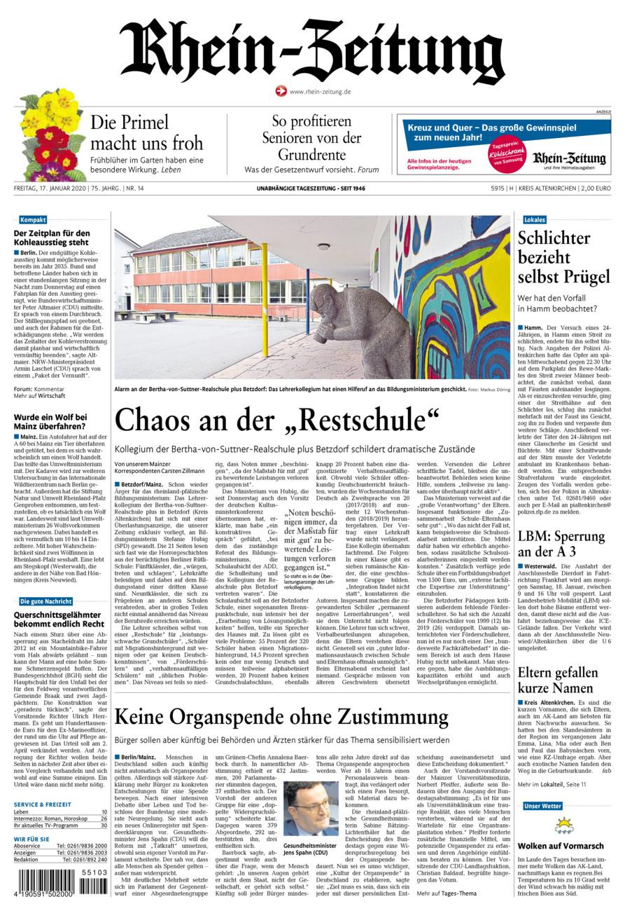 Rhein-Zeitung Kreis Altenkirchen vom Freitag, 17.01.2020