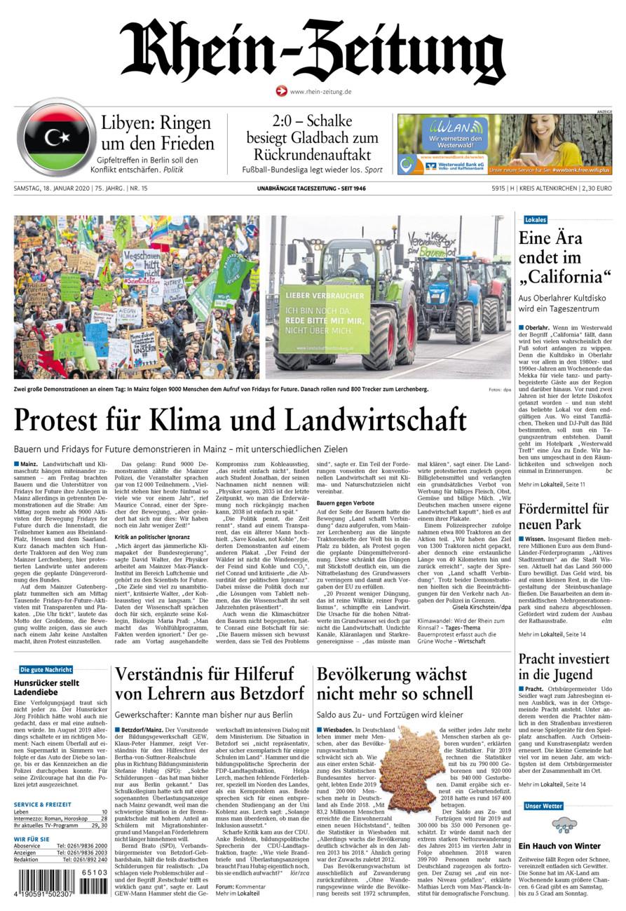 Rhein-Zeitung Kreis Altenkirchen vom Samstag, 18.01.2020