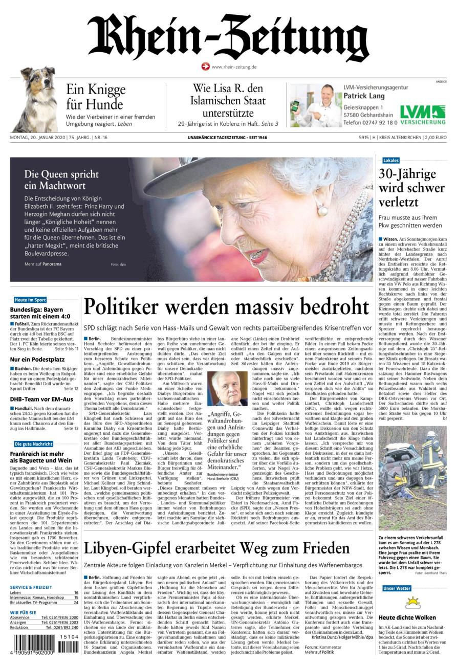 Rhein-Zeitung Kreis Altenkirchen vom Montag, 20.01.2020