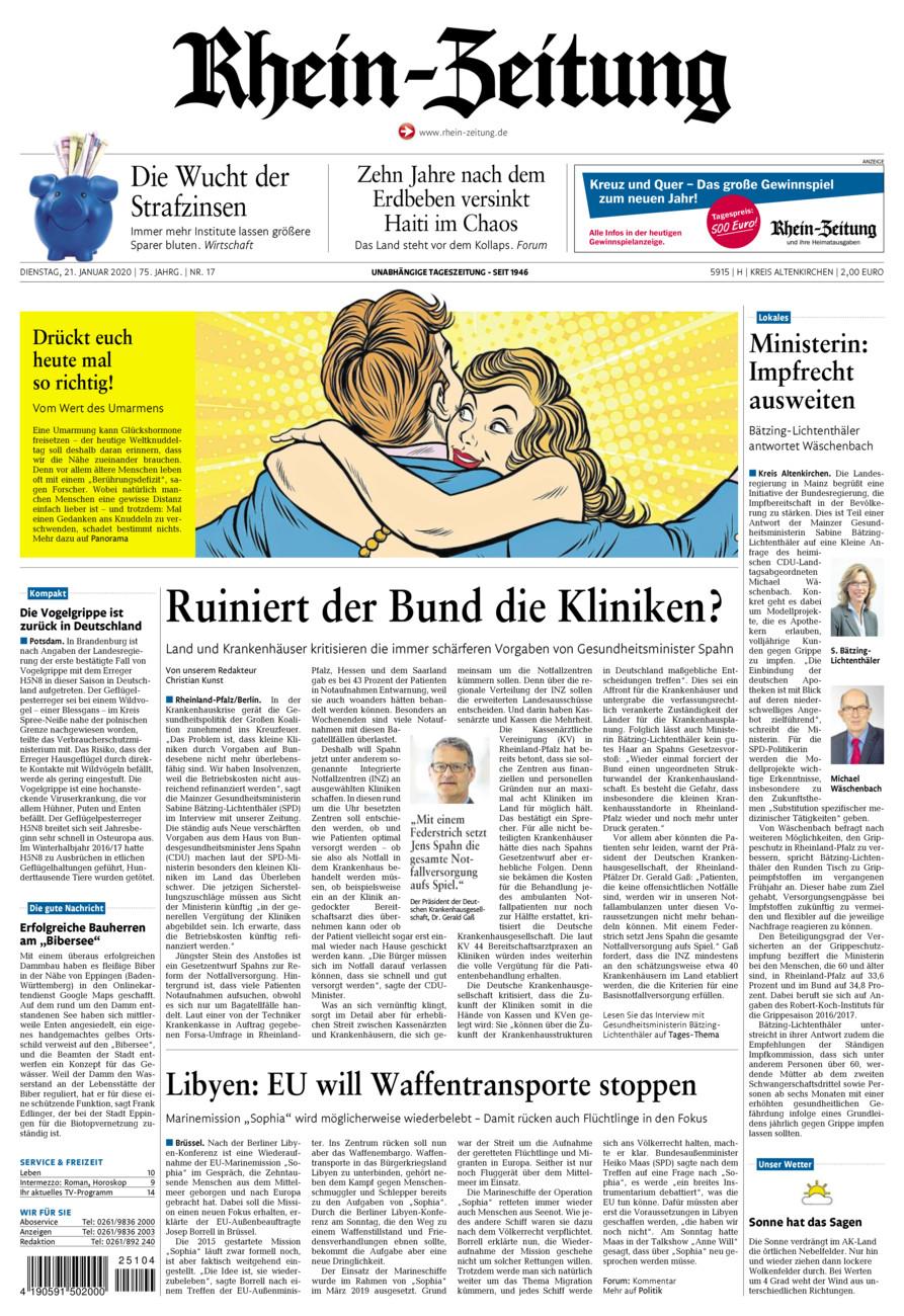 Rhein-Zeitung Kreis Altenkirchen vom Dienstag, 21.01.2020