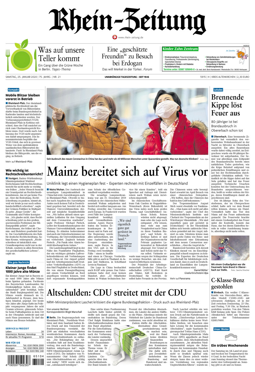 Rhein-Zeitung Kreis Altenkirchen vom Samstag, 25.01.2020