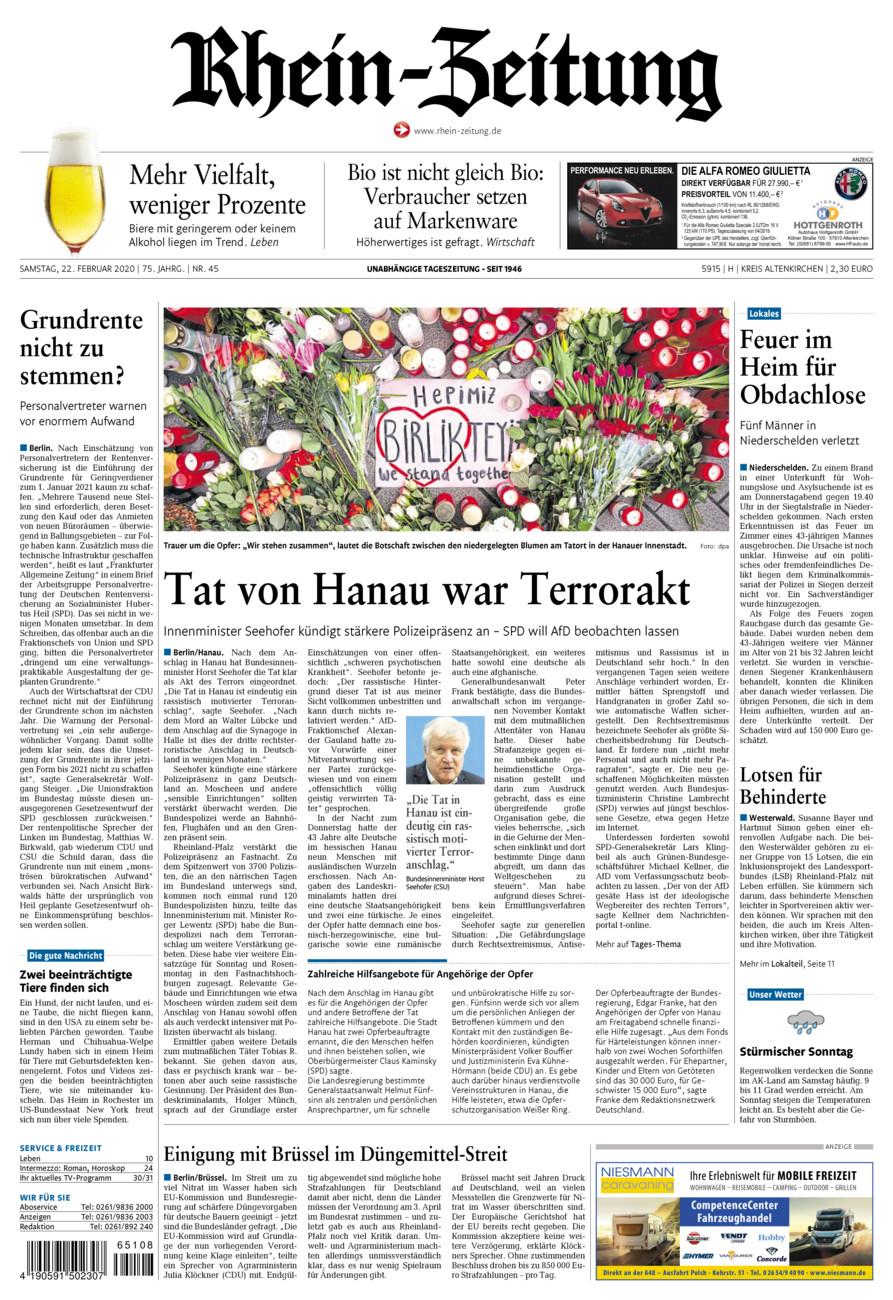 Rhein-Zeitung Kreis Altenkirchen vom Samstag, 22.02.2020