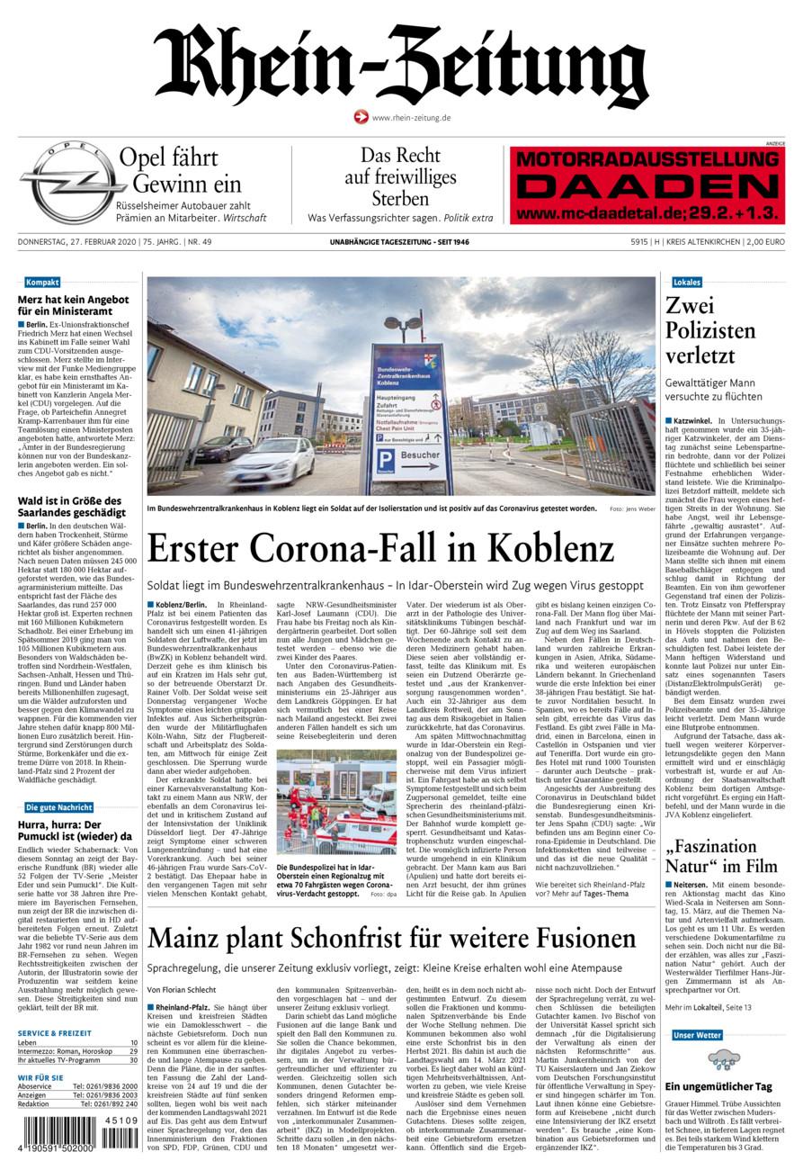 Rhein-Zeitung Kreis Altenkirchen vom Donnerstag, 27.02.2020