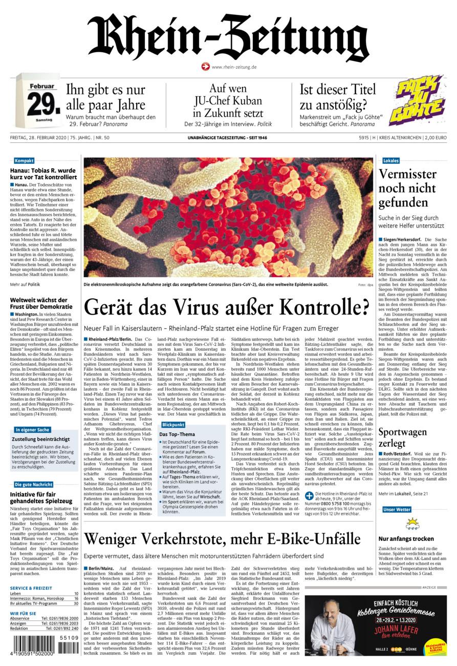 Rhein-Zeitung Kreis Altenkirchen vom Freitag, 28.02.2020