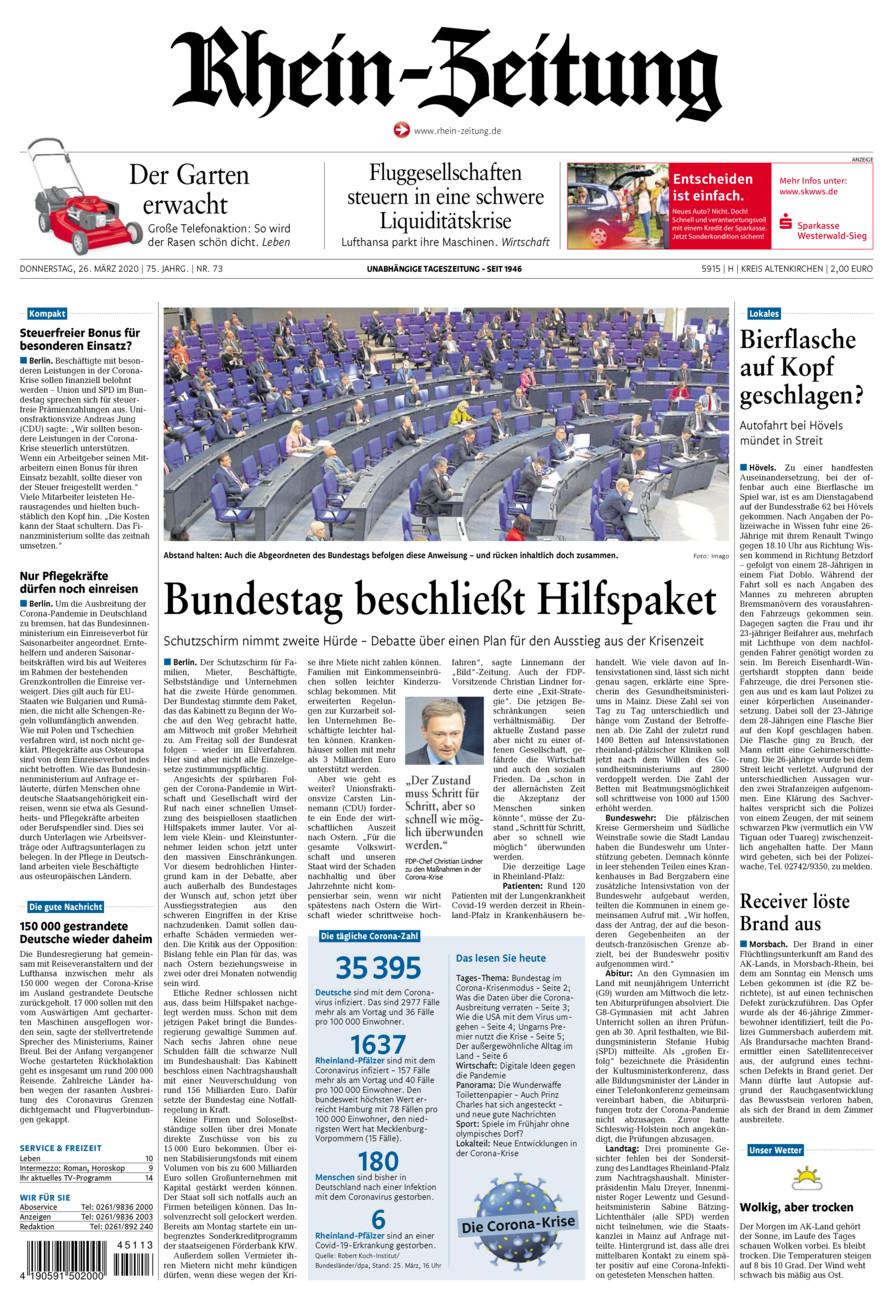 Rhein-Zeitung Kreis Altenkirchen vom Donnerstag, 26.03.2020