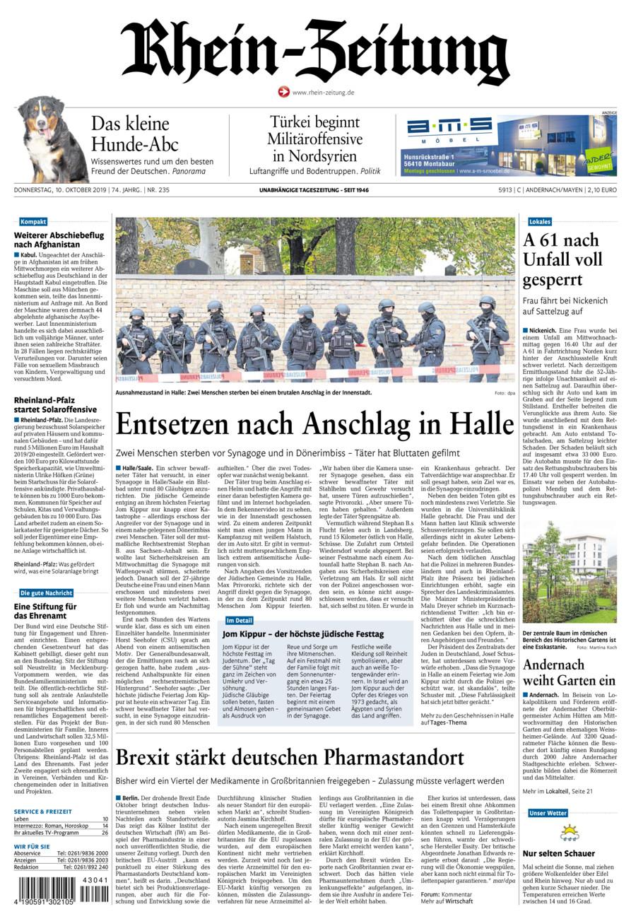 Rhein-Zeitung Andernach & Mayen vom Donnerstag, 10.10.2019