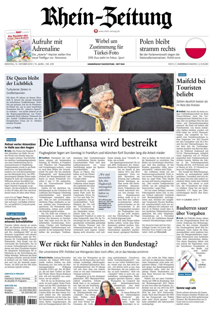 Rhein-Zeitung Andernach & Mayen vom Dienstag, 15.10.2019