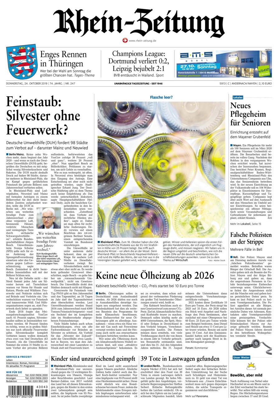 Rhein-Zeitung Andernach & Mayen vom Donnerstag, 24.10.2019