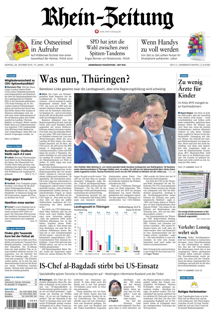 Rhein-Zeitung Andernach & Mayen vom Montag, 28.10.2019
