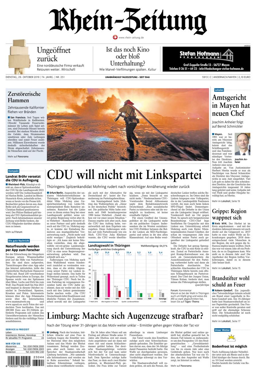 Rhein-Zeitung Andernach & Mayen vom Dienstag, 29.10.2019