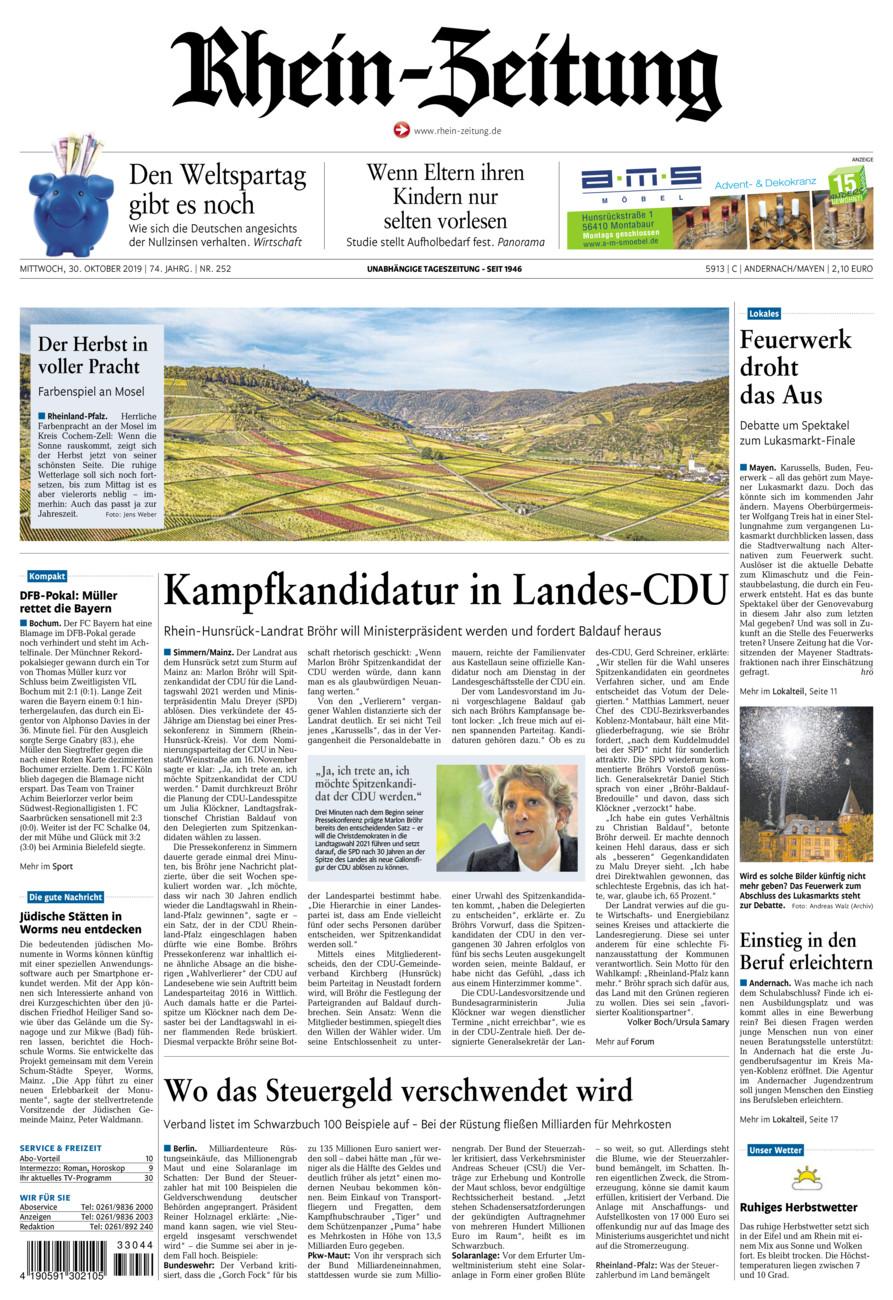 Rhein-Zeitung Andernach & Mayen vom Mittwoch, 30.10.2019