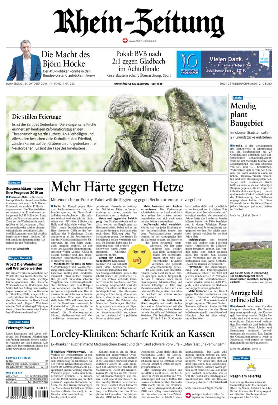 Rhein-Zeitung Andernach & Mayen vom Donnerstag, 31.10.2019