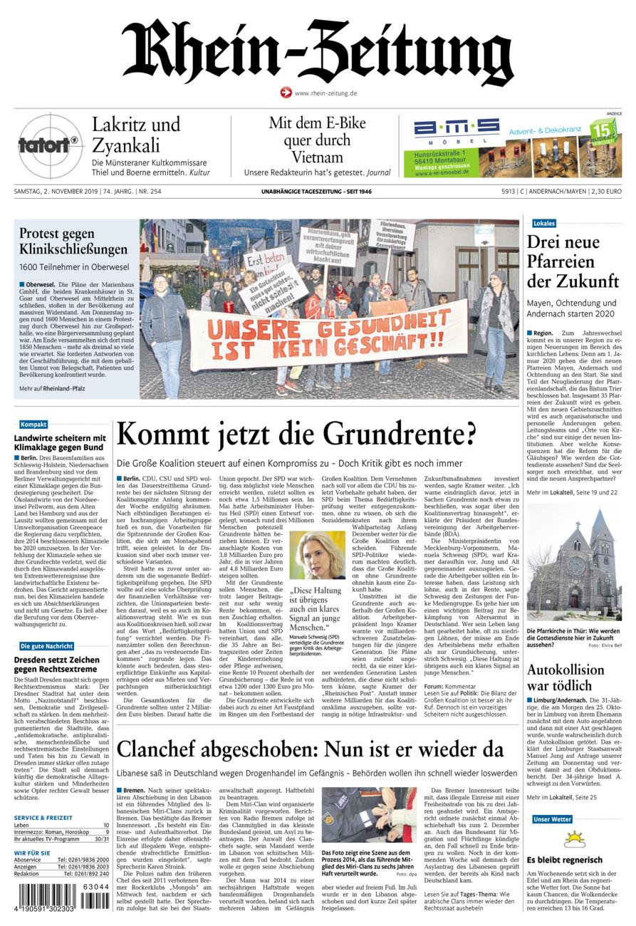 Rhein-Zeitung Andernach & Mayen vom Samstag, 02.11.2019