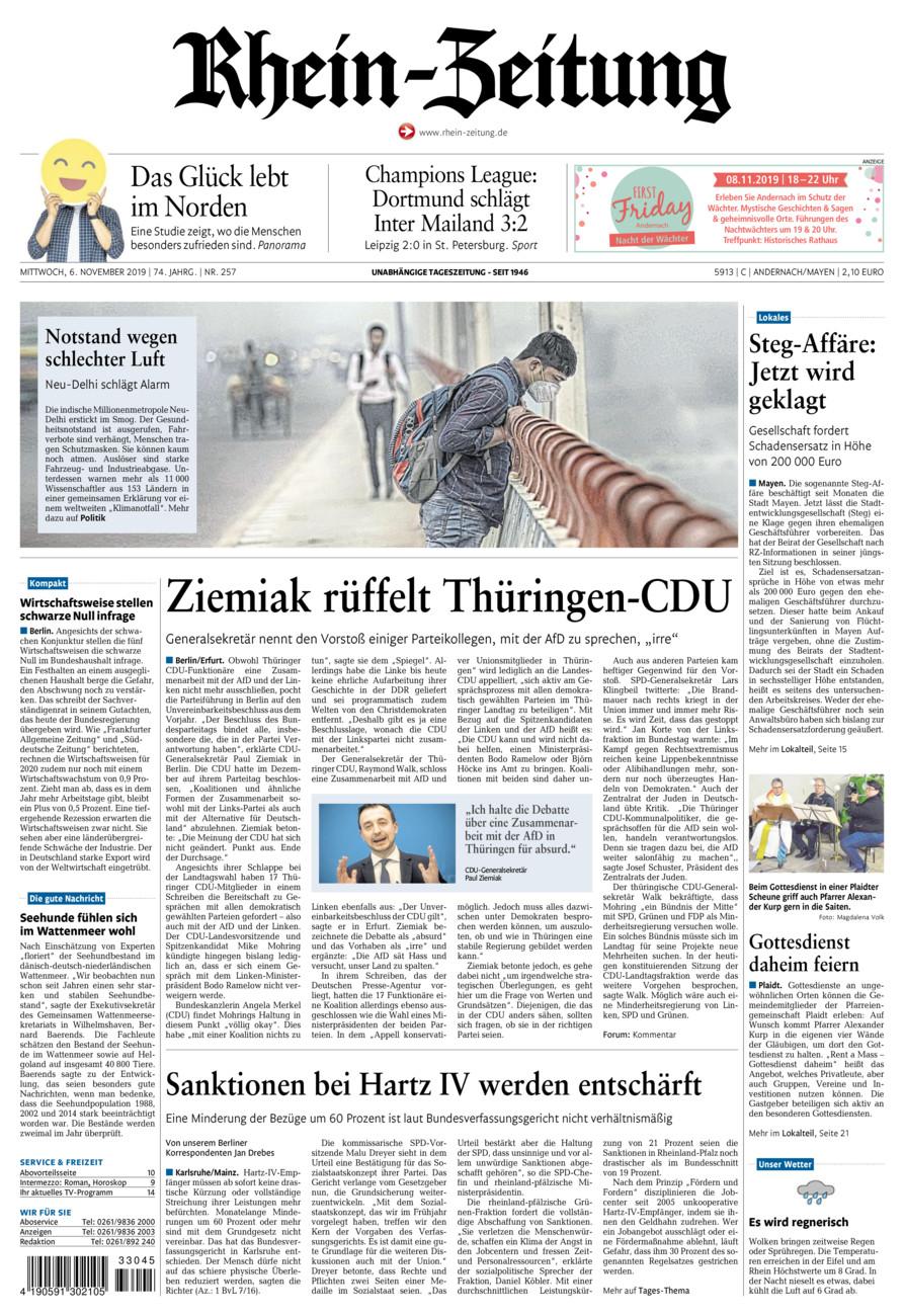 Rhein-Zeitung Andernach & Mayen vom Mittwoch, 06.11.2019