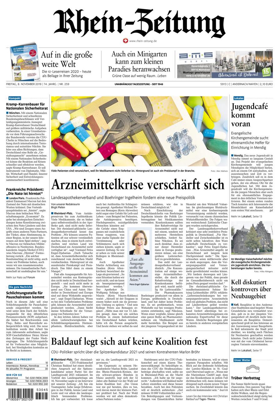 Rhein-Zeitung Andernach & Mayen vom Freitag, 08.11.2019